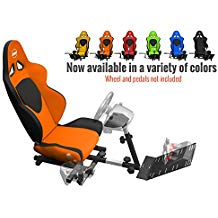 Openwheeler Racing Wheel Stand Cockpit Orange on Black   For Logitech G29   G920 and Logitech G27   G25   Thrustmaster   Fanatec Wheels   Racing wheel & controllers NOT included