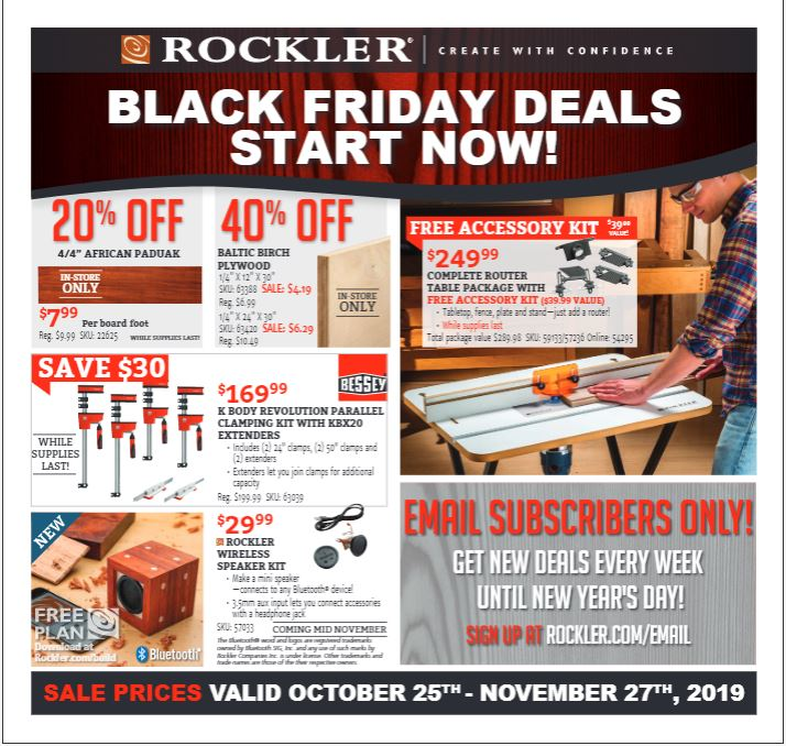 Rockler Black Friday Sales, Deals, Coupons and Ads [2019] 1